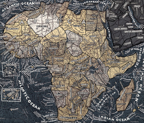 map of Africa by Paula Scher, Stendhal Gallery